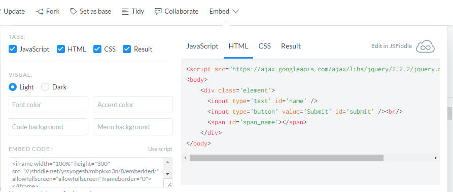 jsFiddle Snippets Embedding to your Web Page